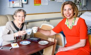 Morning tea with Dr Mary English at Mary Potter Hospice. Photo by Mark Coote.